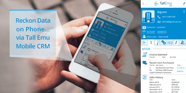 Tall emu CRM enables you to see Reckon Data on your mobile