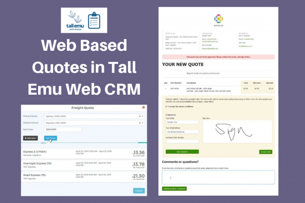 Web Based Quotes in Tall Emu Web CRM